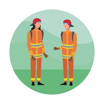 Brandweerlieden team cartoon