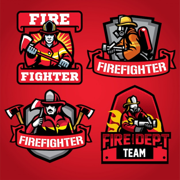Brandweerman afdeling logo ontwerpset