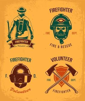 Brandweerman badges set. vintage patches met brandweerman in helm en gas. embleem met bijlen en schild in grungestijl. vector illustratie collectie voor brandweer logo sjablonen