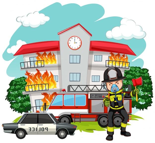 Brandweerman bij de brandweerkazerne
