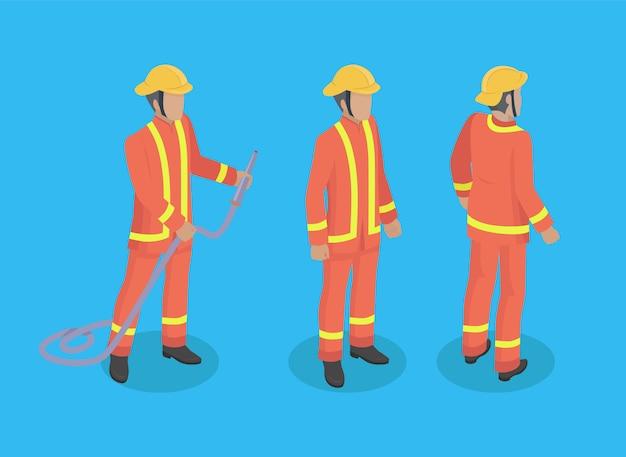 Brandweerman bouw set illustratie