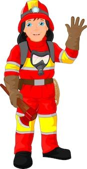 Brandweerman cartoon zwaaien
