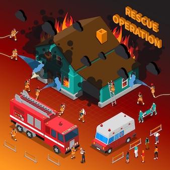 Brandweerman isometrische sjabloon