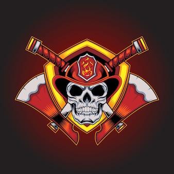 Brandweerman kracht logo mascotte met bijl