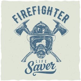 Brandweerman labelontwerp met illustratie van helm met gekruiste assen