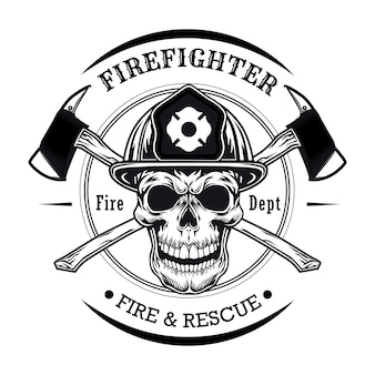 Brandweerman met schedel vectorillustratie. hoofd van karakter in helm met gekruiste assen