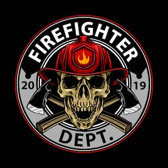 Brandweerman schedel embleem ontwerp