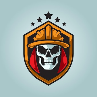 Brandweerman schedel hoofd mascotte logo