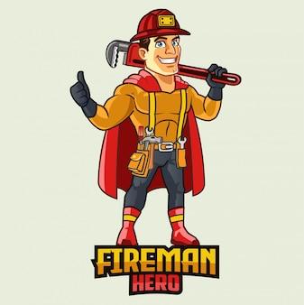 Brandweerman superheld uitvoering moersleutel cartoon mascotte