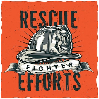 Brandweerman t-shirt labelontwerp met illustratie van helm met gekruiste assen. hand getekende illustratie.