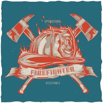Brandweerman t-shirt ontwerp met illustratie van helm met gekruiste assen