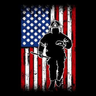 Brandweerman vlag, met amerikaanse vlag achter als achtergrond, brandweerman logo