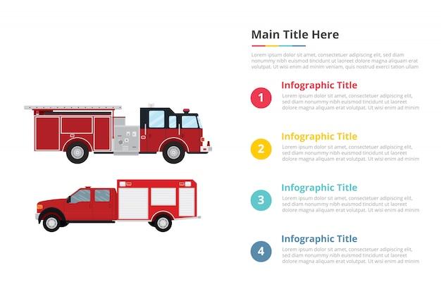 Brandweerman vrachtwagen infographics sjabloon met vier punten