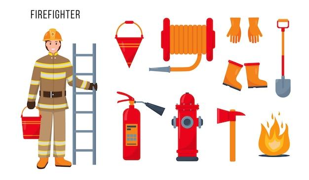 Brandweermankarakter en set brandblusapparatuur