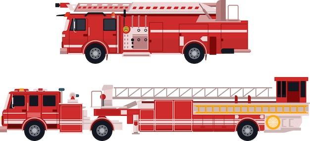 Brandweerwagen in platte vector