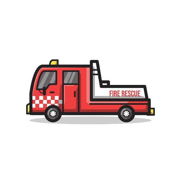 Brandweerwagen in unieke minimalistische lijntekeningenillustratie