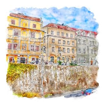 Bratislava slowakije aquarel schets hand getekende illustratie