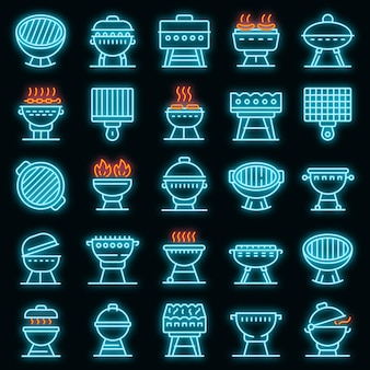 Brazier pictogrammen instellen. overzicht set van vuurpot vector iconen neon kleur op zwart