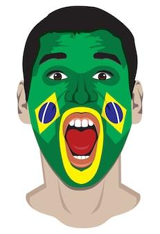 Brazil fan gezicht