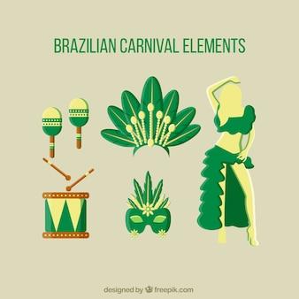Braziliaans carnaval elementen in groene kleur