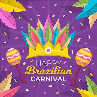 Braziliaans carnaval in plat ontwerp