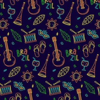 Braziliaans carnaval kleurrijk hand getekend patroon