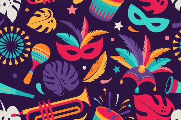 Braziliaans carnaval, muziekfestival, maskerade naadloos patroon Premium Vector
