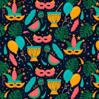 Braziliaans carnaval-patroon in vlak ontwerp