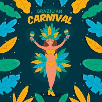 Braziliaans carnaval-patroon met danser