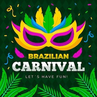 Braziliaans carnaval-patroon met kleurrijk masker