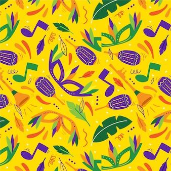 Braziliaans carnaval patroon plat ontwerp