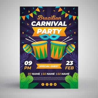 Braziliaans carnaval poster sjabloon