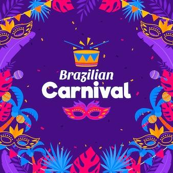 Braziliaans carnavalconcept in plat ontwerp