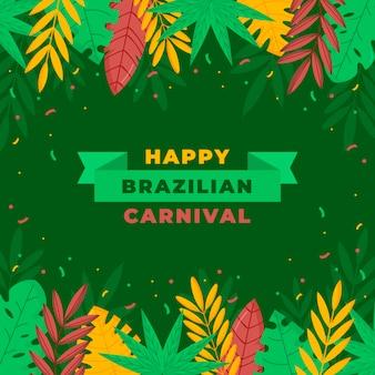 Braziliaanse carnaval achtergrond met bladeren Premium Vector