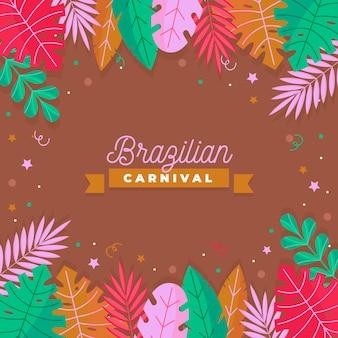 Braziliaanse carnaval achtergrond met kleurrijke bladeren
