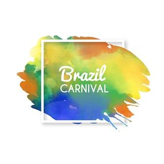 Braziliaanse carnaval-achtergrond op kleurrijke waterverfvlek