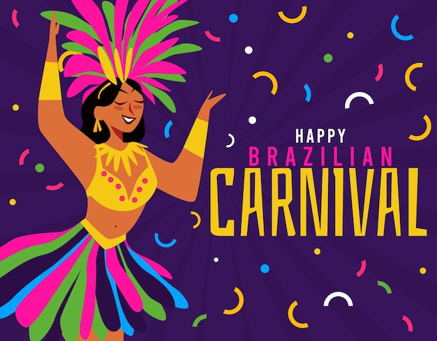 Braziliaanse carnaval danser illustratie