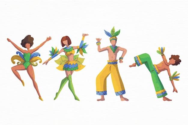 Braziliaanse carnaval-danseres met kostuums