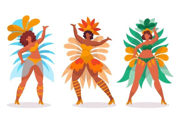 Braziliaanse carnaval dansers met kostuums