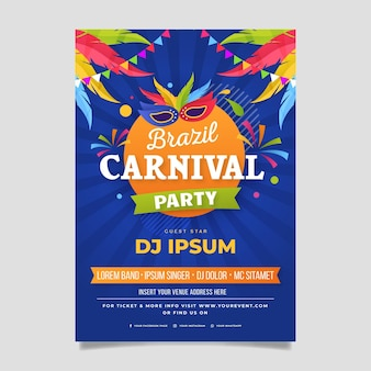 Braziliaanse carnaval folder sjabloon