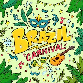 Braziliaanse carnaval hand getekende illustratie
