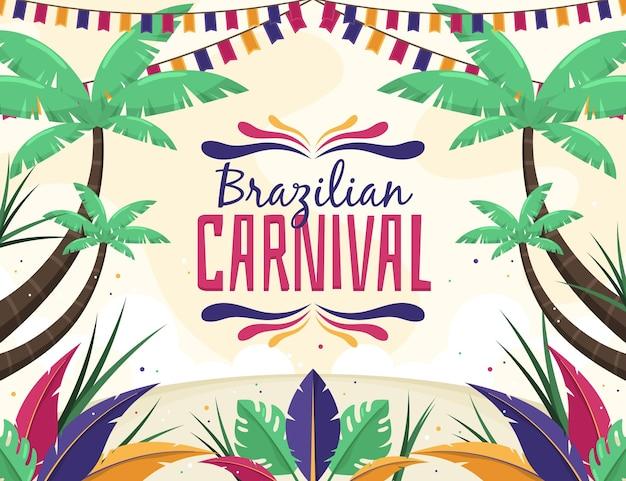 Braziliaanse carnaval illustratie plat ontwerp