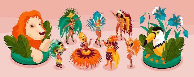 Braziliaanse carnaval isometrische smal set met toerisme en leuke symbolen geïsoleerde illustratie