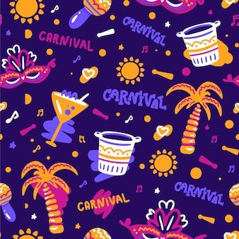 Braziliaanse carnaval patroon hand getrokken