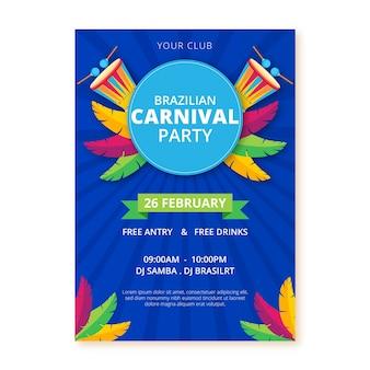 Braziliaanse carnaval sjabloon folder