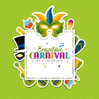 Braziliaanse carnaval wenskaartsjabloon