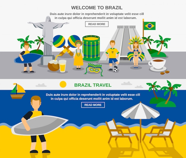 Braziliaanse cultuur 2 platte banners samenstelling
