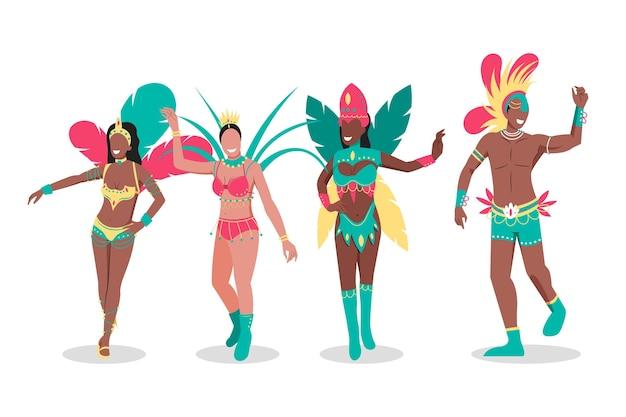Braziliaanse danseres met kostuums pack