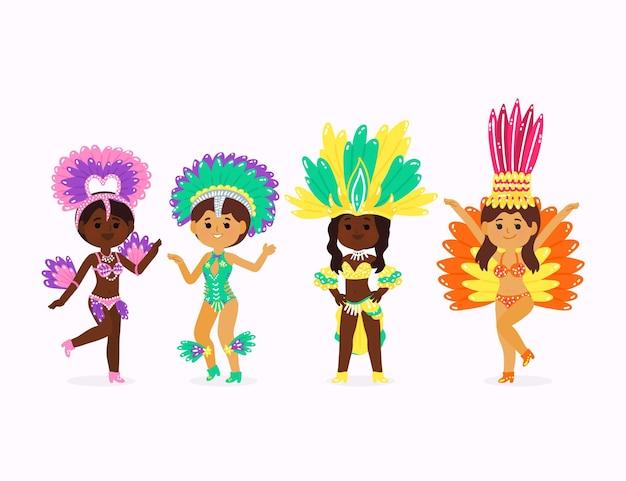 Braziliaanse dansers met kostuumscollectie