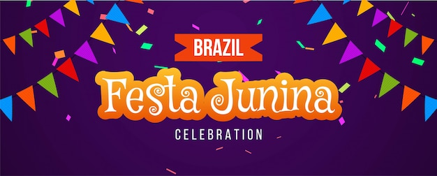 Braziliaanse festa junina-festival kleurrijke banner